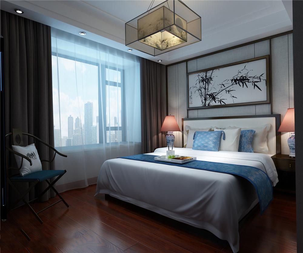 中式卧室软包装修效果图大全,新中式风格卧室效果图无水印