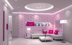 美容院粉色装修效果图,小型美容院室内装修效果图大全