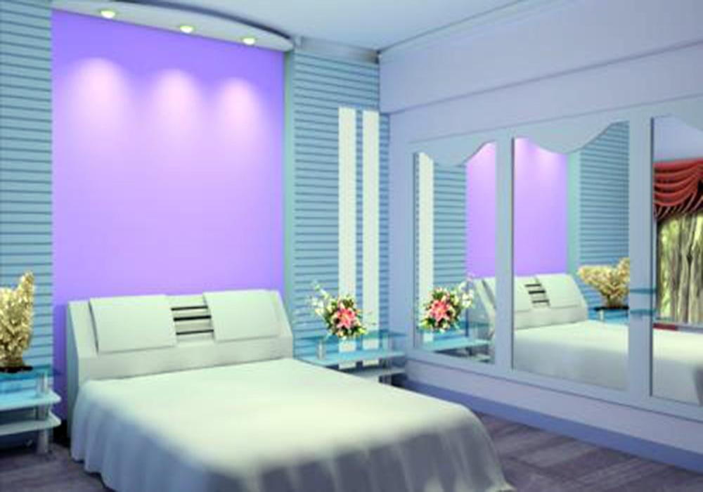 蓝色墙壁美容院的装修效果图,40平韩式美容院装修效果图