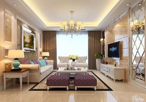 家装简欧客厅效果图,简欧客厅装修实景图大全