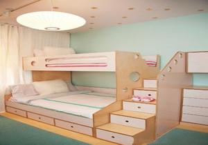 儿童房榻榻米高低床装修效果图大全,儿童房上下铺榻榻米床装修效果图