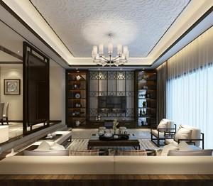 新中式家装别墅客厅设计效果图