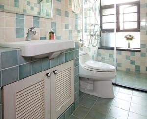 卫生间浅绿色地砖效果图