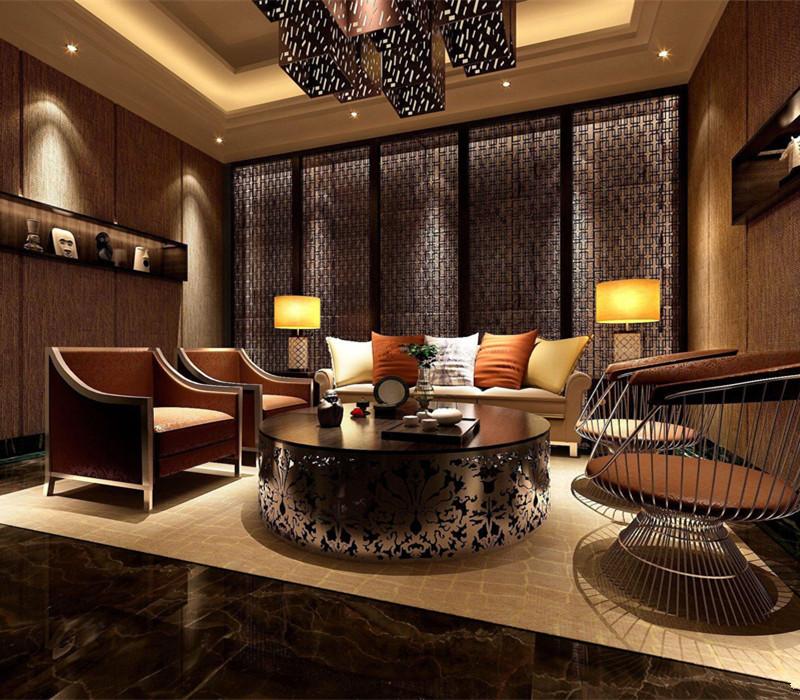 新中式墙布效果图客厅