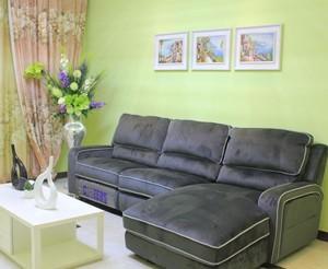 客厅贴薄荷绿色墙布效果图