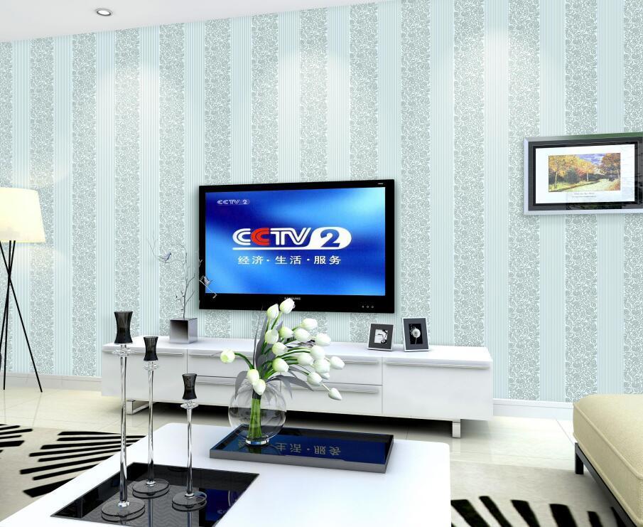 客厅用墙布和线条简单的效果图