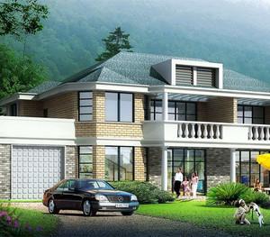 带车库和花园的别墅设计平面图