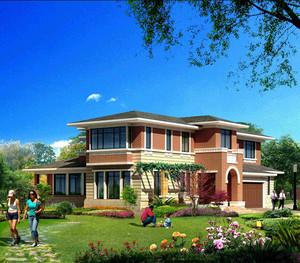 独栋豪华花园式双车库别墅立平面图