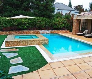别墅带花园游泳池的设计平面图