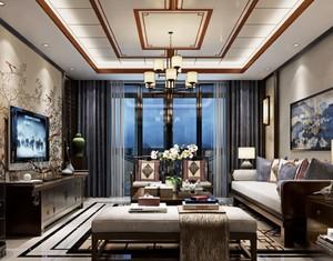 現代中式風格客廳吊頂效果圖