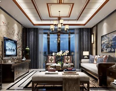 现代中式风格客厅吊顶效果图