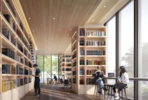 图书馆墙壁木质装修效果图