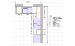 L型櫥柜設計圖帶尺寸