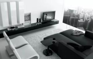 灰色沙發搭配茶幾電視柜效果圖