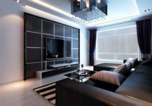 黑色沙發茶幾電視柜效果圖