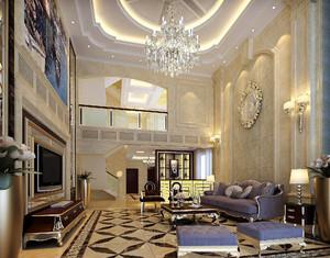 别墅复式客厅中空欧式装修效果图