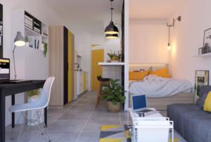 40平米正方形公寓裝修效果圖