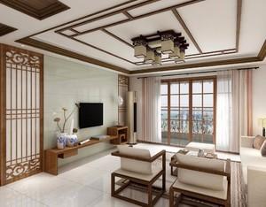 復式樓簡約中式風格客廳裝修效果圖