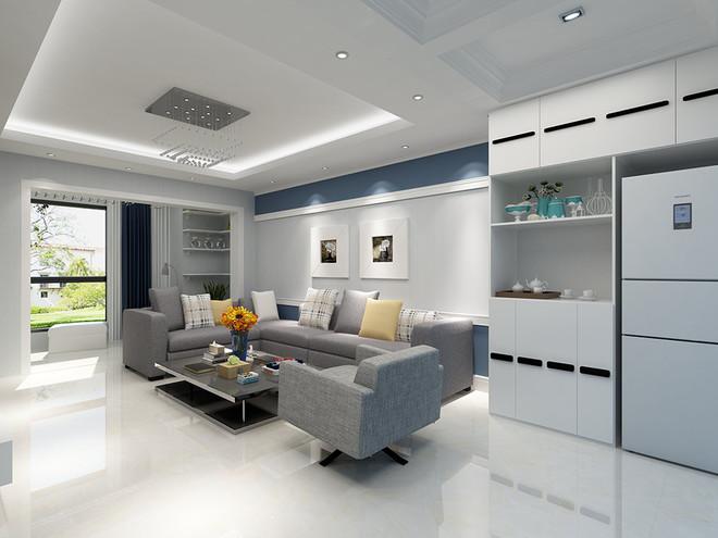 客厅嵌入式冰箱效果图