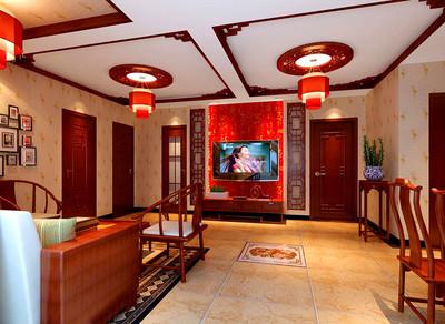 红色别墅客厅集成中式吊顶
