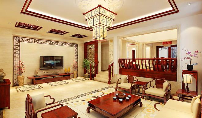 新中式别墅客厅吊顶装修效果图