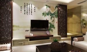 客厅中式壁画效果图