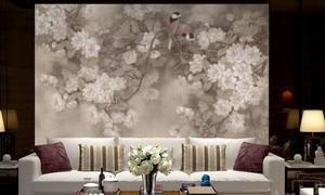 中式墙纸壁画效果图