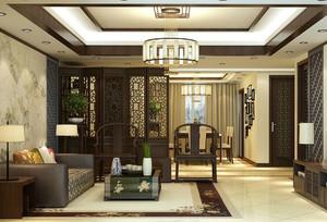 中式客廳過道隔斷裝修效果圖