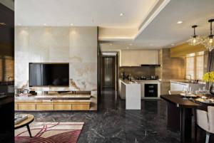 客廳和廚房通裝修樣板間效果圖