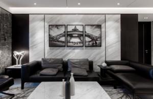 客廳啞光灰色地板磚效果圖