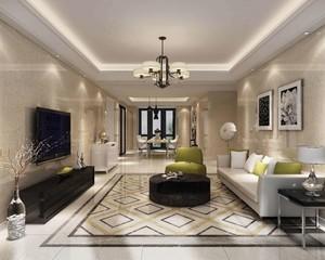 現代客廳地磚效果圖