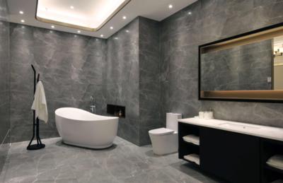 卫生间灰色地板装修效果图