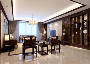 中式客廳天花板吊頂效果圖