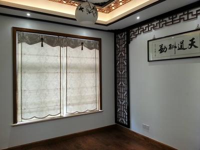 中式客廳帶陽臺窗簾效果圖大全