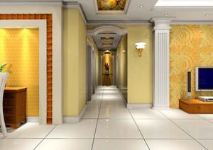 客廳走廊地磚和客廳效果圖
