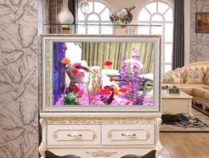 歐式客廳隔斷柜帶魚缸效果圖