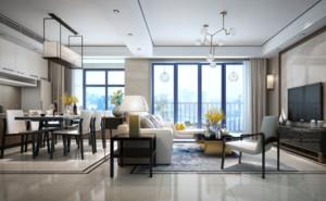 現代簡約客廳地磚鋪設效果圖