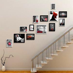 公司樓梯照片墻效果圖大全