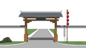 中式景区大门效果图
