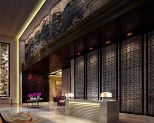 中式酒店服務臺頂面圖