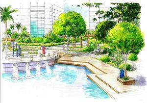 噴泉廣場手繪效果圖