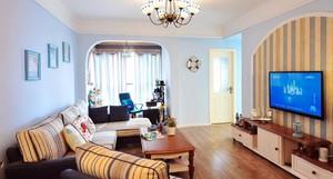 105平米三居室地中海風格客廳地臺裝修效果圖
