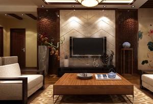 80平米兩居室中式風格客廳地臺裝修效果圖