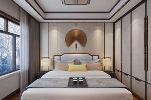 100平米三居室中式簡約9平米臥室裝修效果圖