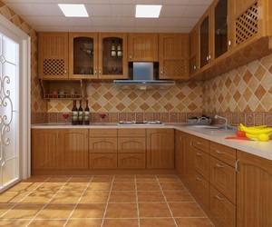 110平方三居室田園風格廚房電器效果圖
