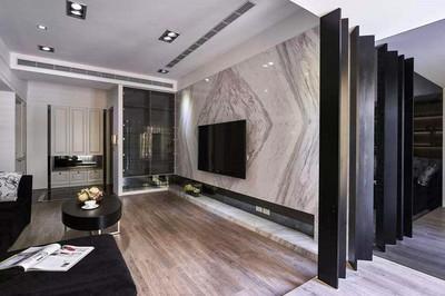 两层别墅现代时尚黑白电视背景墙效果图