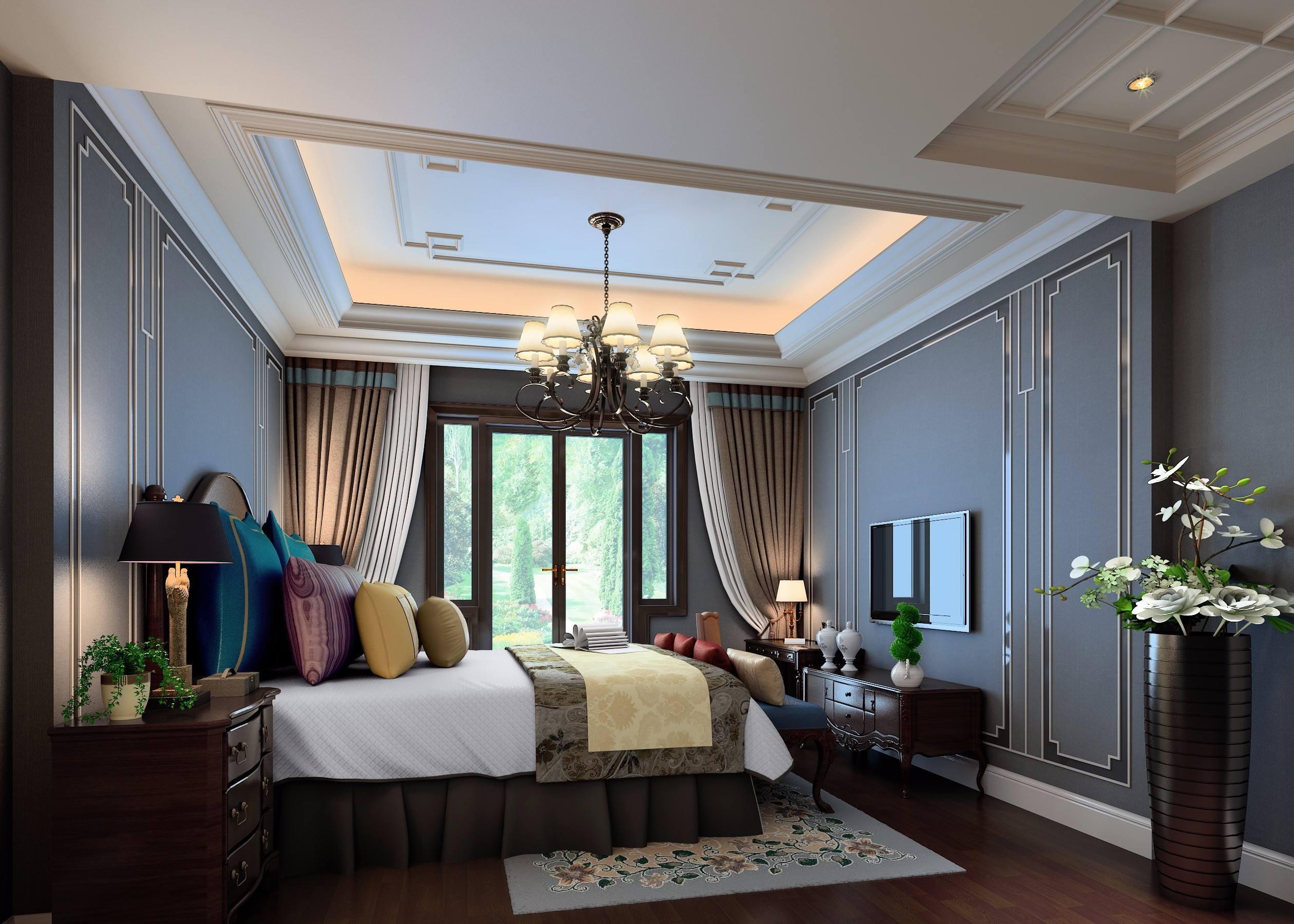 140平米别墅中式古典风格红木家具配窗帘装修效果图