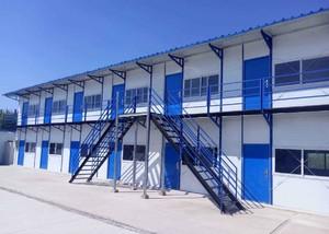 790平米兩層樓藍白色彩鋼房裝修效果圖