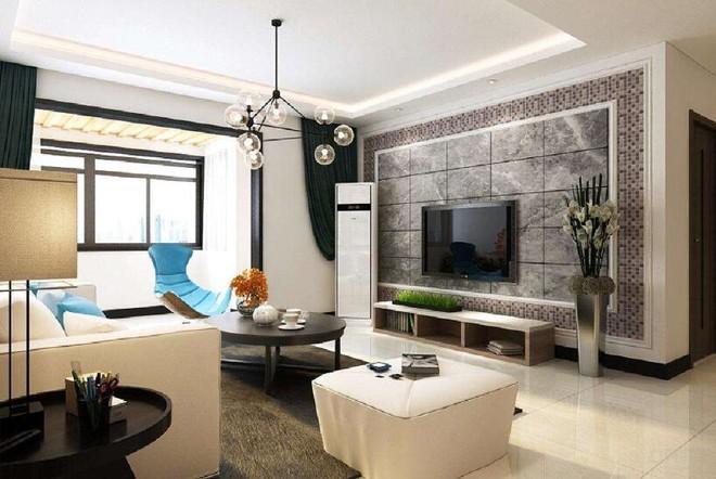 115平现代风格客厅墙面瓷砖效果图大全
