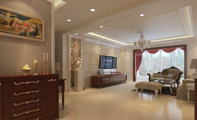 117平中式风格客厅墙面瓷砖搭配效果图